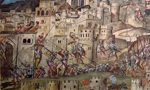 Detalle del fresco que representa la conquista de Orán. Capilla Mozárabe de la Catedral de Toledo